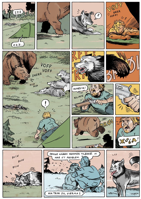 En av Esben Slaatrem Titlands illustrasjoner til HELT VILT - på tur i bjørneland.